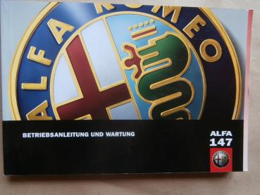 Alfa Romeo 147 1.6TS 2.0tS +Selespeed +1.9JTD Handbuch Bordbuch April 2001