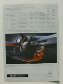 Mercedes Benz Preisliste SL R129 final edition Januar 2001