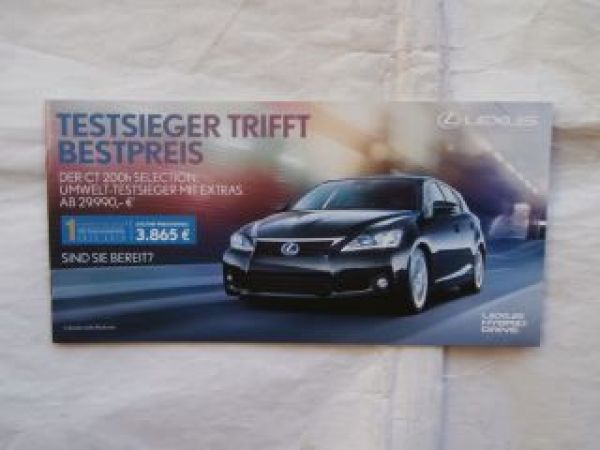 Lexus CT 200h Selection Prospektflyer September 2013 NEU